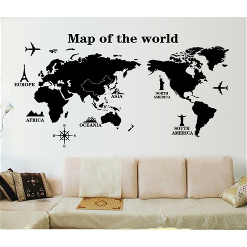 World map wall stickers removable pvc map of the world on the wall world map wall stickers removable pvc map of the world on the wall stickers art decals home decoration world map poster in wall stickers from home garden gumiabroncs Gallery