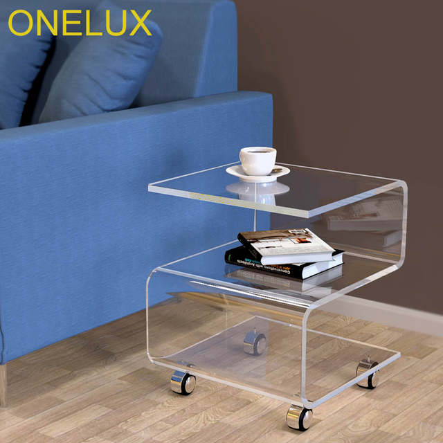 Coffee Table On Wheels Rolling Lucite