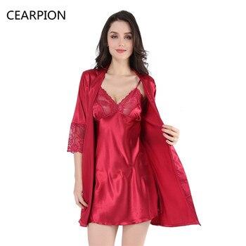 Women Short Robe Nightgown Set Sexy Sleepwear 1