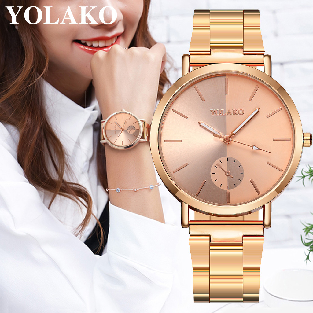 YOLAKO Casual Quartz Stainless Steel Band Newv Strap Watch Analog Wrist Watch Montre Femme Luxury Watch Women Rose Gold 30