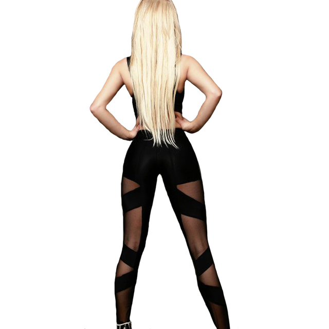 Fashion Sexy Workout Long Pants Women Bandage Stretchy Fitness Leggings Ladies Girls High Waist Hollow Out Black Mesh Trousers