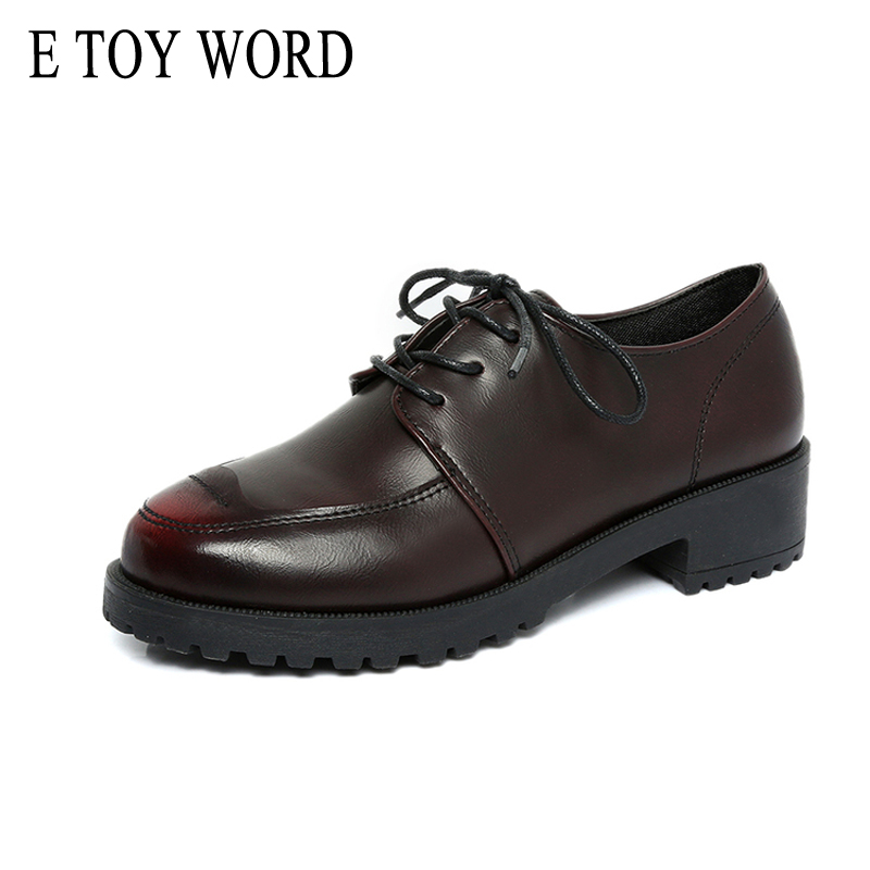 E TOY WORD Patent Leather women oxford British New Spring Platform Flats Casual Lace-Up Ladies Creepers Shoes Woman XWD2530 e toy word canvas shoes women han edition 2017 spring cowboy increased thick soles casual shoes female side zip jeans blue 35 40