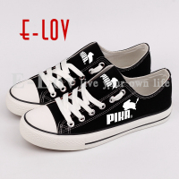 E LOV Harajuku Style Printed Black Canvas Shoes Hip Hop Men Boys Anime Fans Cosplay Casual