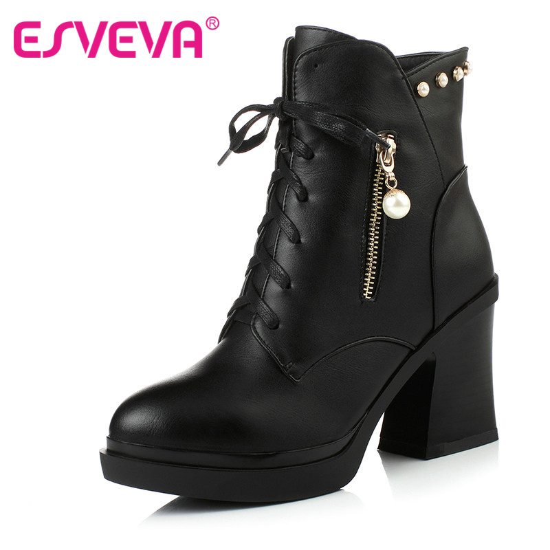 ESVEVA Beading Zipper+Lace Up Pointed Toe Ankle Fashion Boots Platform PU Leather Hoof High Heels Short Plush Winter Women Shoes 2016 custom made fashion brown short ankle boots for women pointed toe lace up platform thin heels stiletto ladies buckle boots