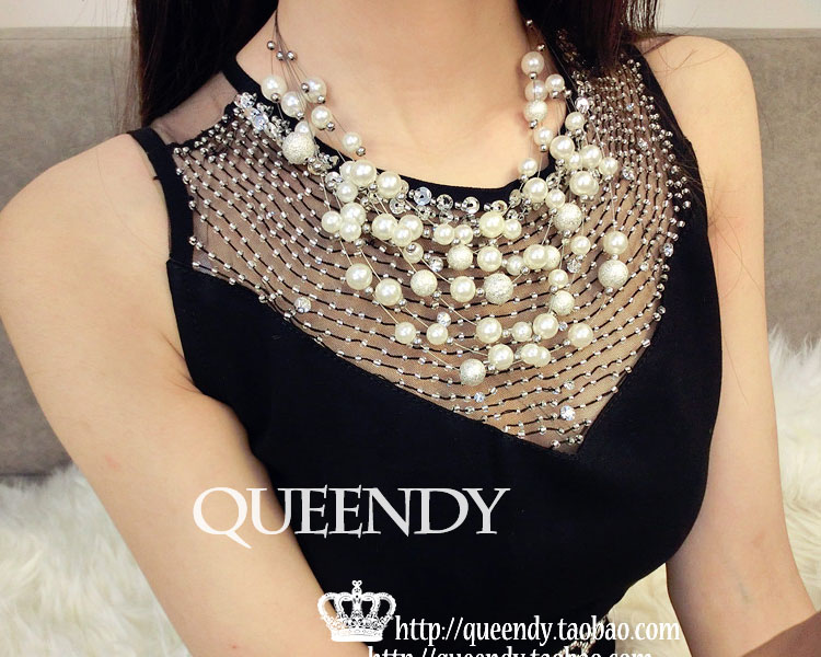 Fashion Party multilayer pearl necklace Accessories High-end Multilayer Beads Chain Women Simulated Necklace Factory Wholesale cat eye multilayer necklace