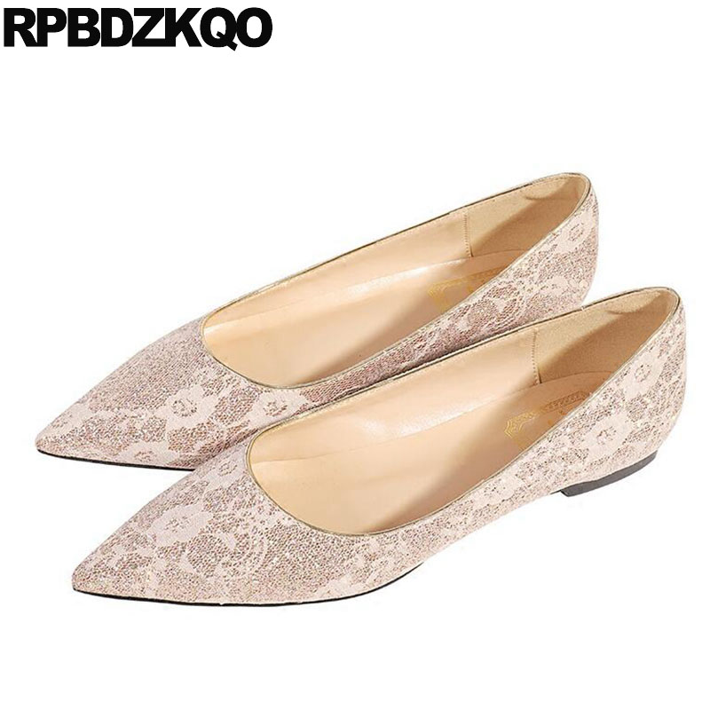 Women Flats Gold White Glitter Chinese Wedding Shoes Ballet Red Wine Slip On Dress Pointed Toe Ballerina Lace Sparkling Designer цены онлайн