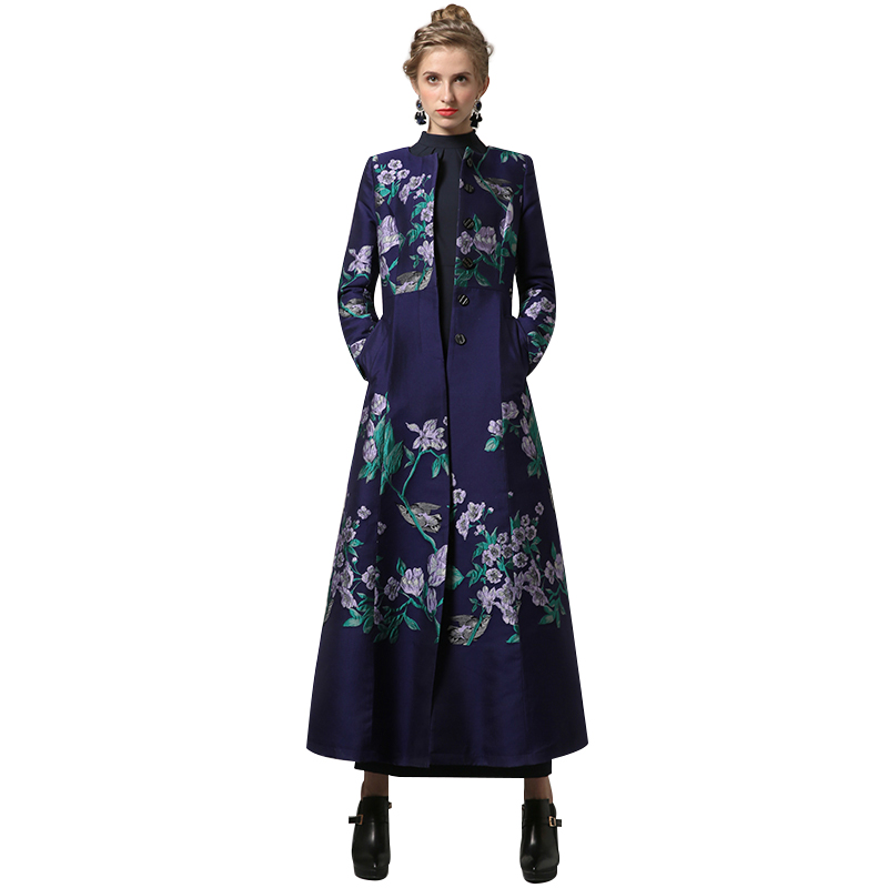 Мода S-XXXL осень-зима Вышивка длинное пальто Florals плюс Размеры Роскошные Тренчи для женщин Для женщин OL Стиль однобортный пиджаки 6371