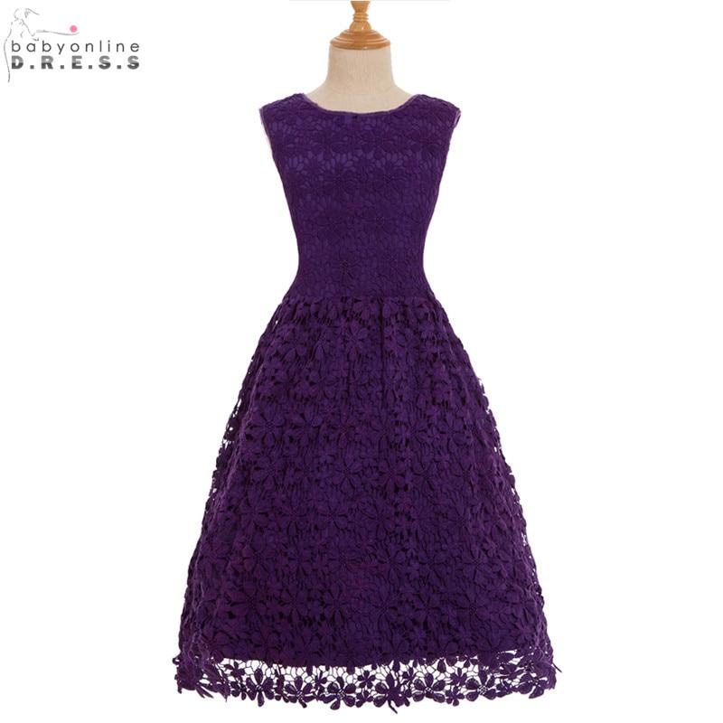 Vestidos de Primera Comunion Cheap Purple Lace Appliques   Flower     Girl     Dresses   for Weddings First Communion   Dresses   for   Girls
