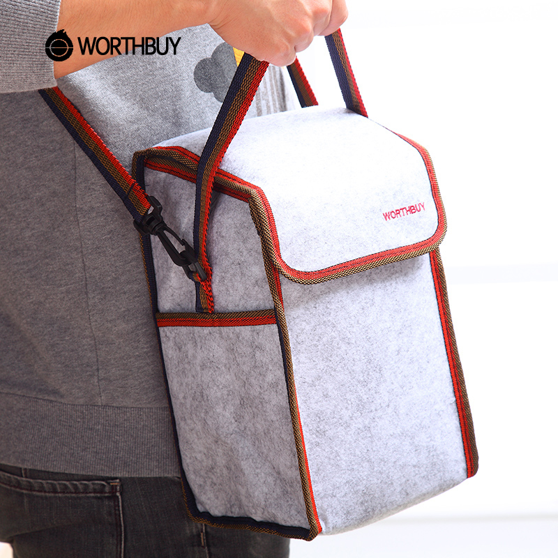 WORTHBUY Portable Thermal Insulated Lunch Bag Solid Felt Lunch Box Bags Tote With Tinfoil For Women Kids Picnic Camping Bag