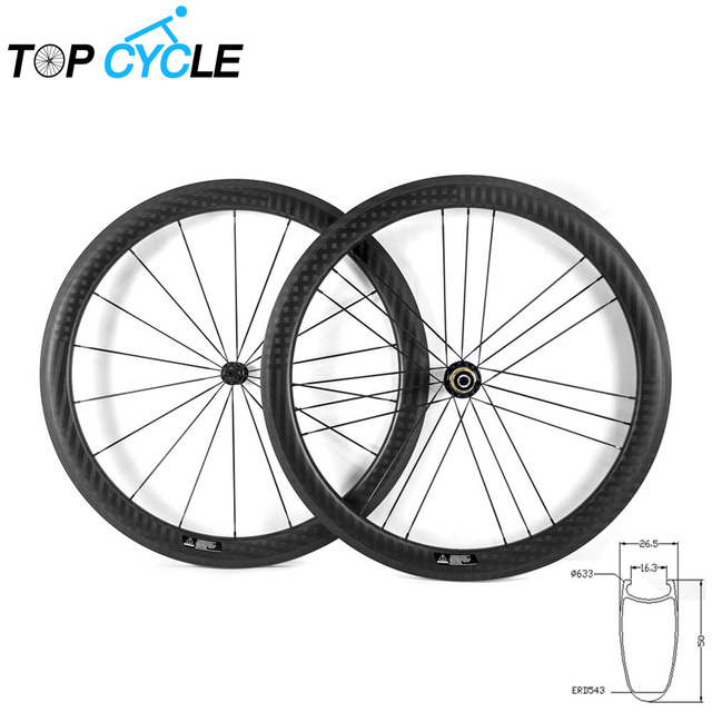 Cheap 50mm 700C Carbon Wheelset Carbon Clincher Wheelset 23mm/25mm width Carbon Clincher /Tubular Wheels 50mm Lightweight Bike Parts