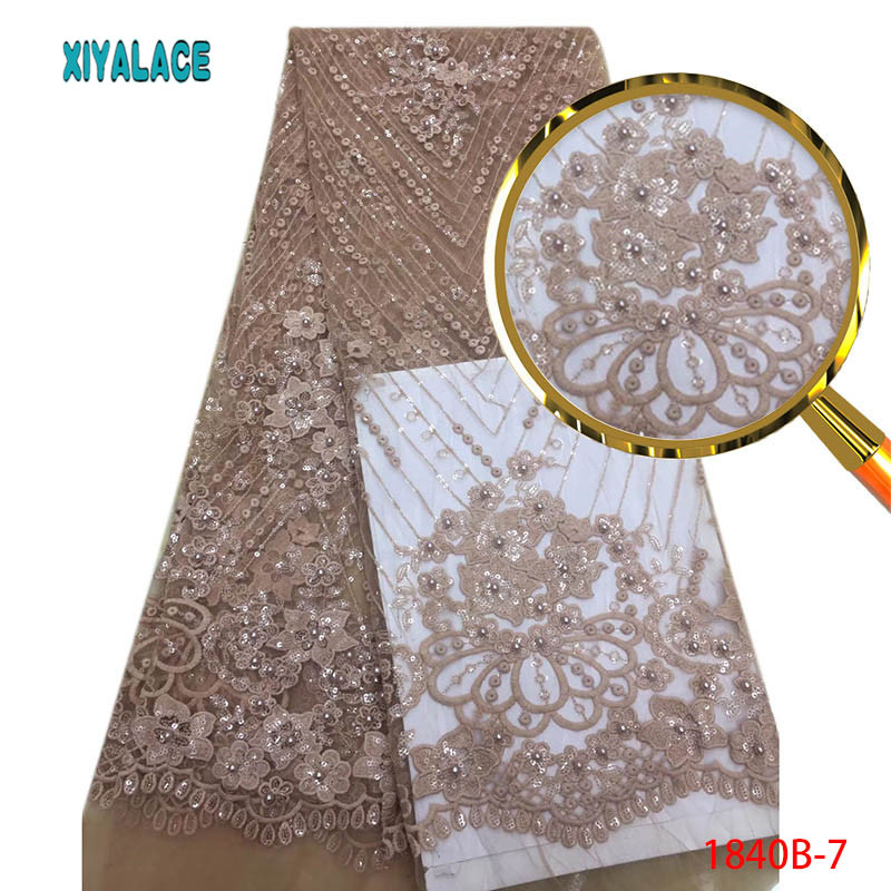 White African Beads French Tulle Lace Fabric High Quality Dubai Embroidery Lace Nigerian French Cord Lace