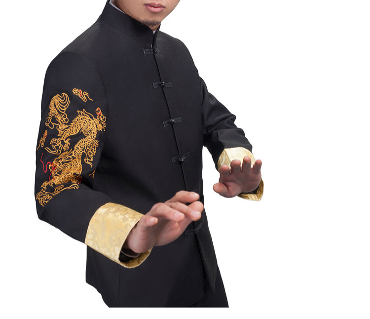 Dragon Embroidery Tang Suit Mens 2017 Chinese Style Mandarin Collar Tunic Wedding Blazers Oriental Button Traditional