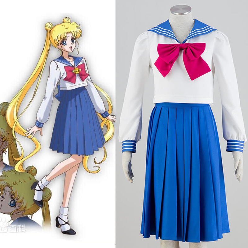 2018 Anime Sailor Moon Cosplay Costume School Uniform Dress,Performance Costumes Kawaii Halloween Cosplay costume Free Shipping