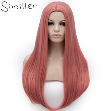 Similler Long Straight Synthetic Cosplay Wigs for Women Pink Red Blue Grey White Black Purple Hair Solid Multi Color 24