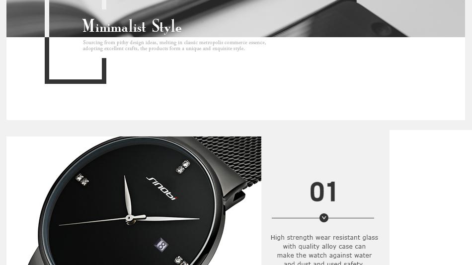 SINOBI Men Quartz Watch Luxury Top Brand Fashion Mesh Delicate Ultra-thin Business Watch Full Stainless Steel Male Wrist Watches 9
