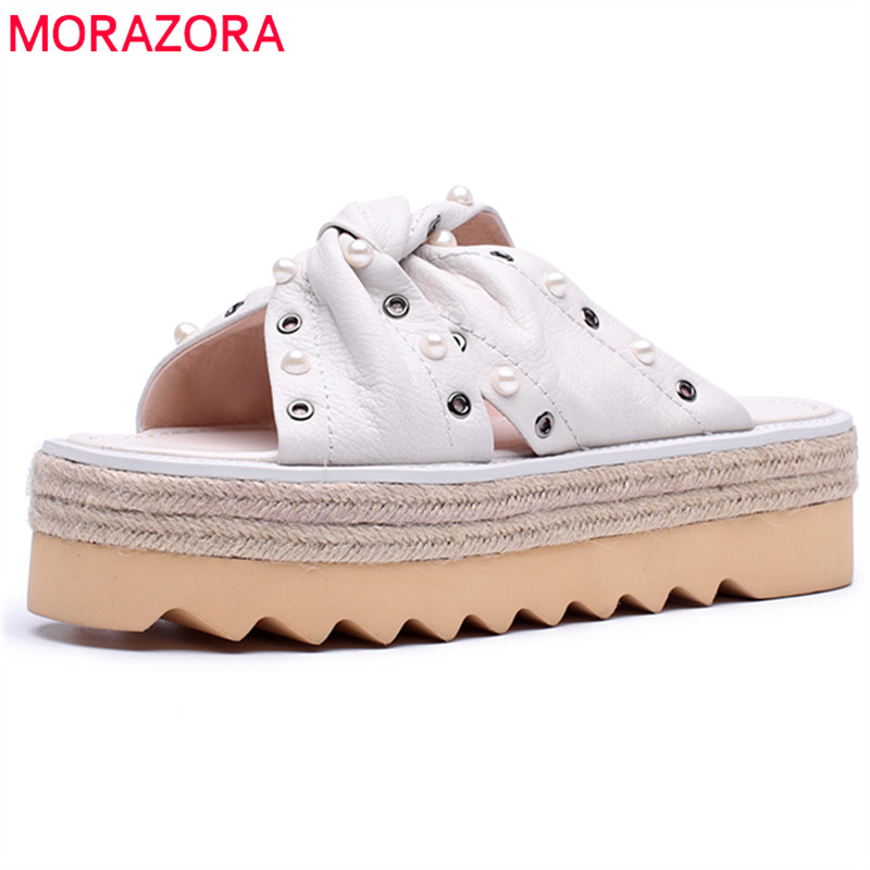 MORAZORA 2018 new style slippers women shoes fashion rivte punk summer shoes genuine leather comfortable casual platform shoes women s shoes 2017 summer new fashion footwear women s air network flat shoes breathable comfortable casual shoes jdt103