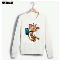 2018 New Fashion Women Tops Sweatshirts The Funny Giraffe Is Making A Phone Call With A