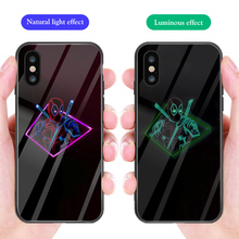 ciciber Phone Case For iPhone 7 8 6 6S Plus Marvel Deadpool Luminous Tempered Glass Cover 11 Pro Max X XR XS Capa