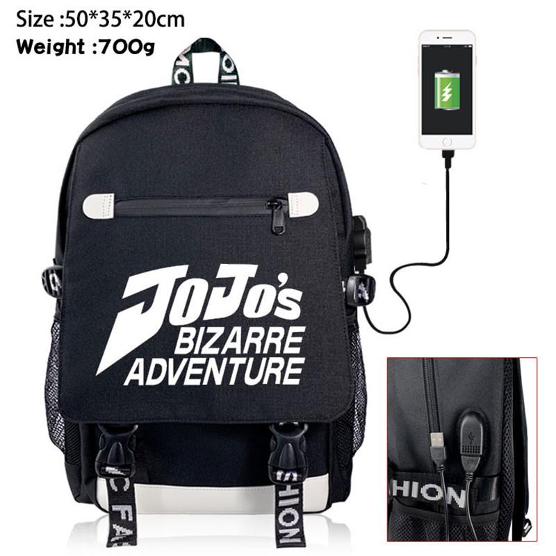 JoJo Adventure Backpack Knapsack Rucksack Travel School Bag Rucksack Boy Girl Book Bag Day Pack USB Port Black Front Zipper