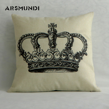 Home Flax Simple Letter Cushion Cover Living room imperial crown Pillowcase decorative Cute Pillow Eco-Friendly