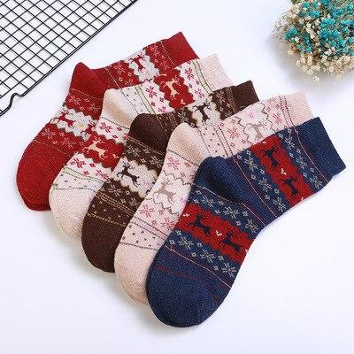Christmas Socks Winter Warmer Wool Cashmere Soft Pair of Socks For Women Fashion Men's Sock