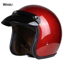 Red Motorcycle Helmet Retro Vintage Motorbike 3/4 Open Face Half Helmet Cruiser Touring Chopper Biker Cafe Racer Moto Helmet недорого