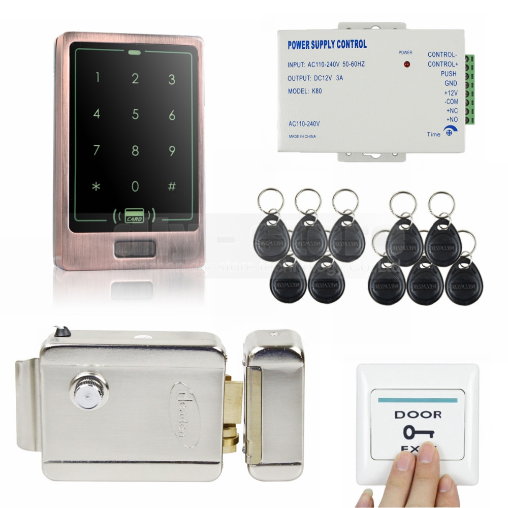 DIYSECUR 8000 User 125KHz RFID Touch Reader Password Keypad Door Access Control Security System Kit + Electric Lock diysecur electric lock waterproof 125khz rfid reader password keypad door access control security system door lock kit w4