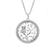 Fanqieliu Luxury Tree Of Life Owl Pendant Necklace For Women Vintage New 2018 Fashion Long Silver Necklace Women FQL1055 vintage divergent the tree of life pendant necklace for women