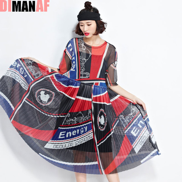 DIMANAF Women Summer Style Dress Plus Size Patchwork Mesh O-Neck Female Casual Draped Fashion Perspective Europe Dresses Red