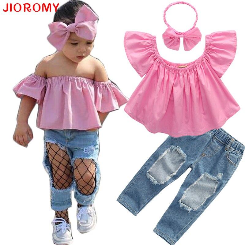 JIOROMY 2019 INS Moda Kız Takım Elbise Üstleri + Kot + Kafa 3 - Çocuk Giyim - Fotoğraf 1