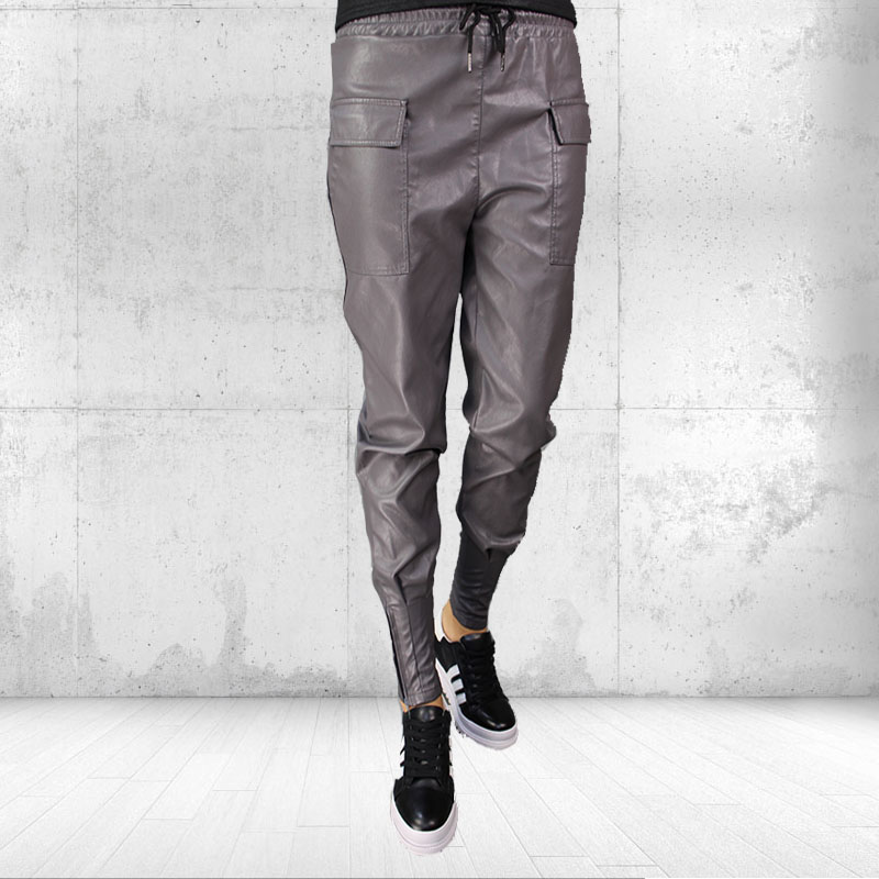 2019 autumn and winter new fashion women's PU leather pants casual wild thin foot pants tide