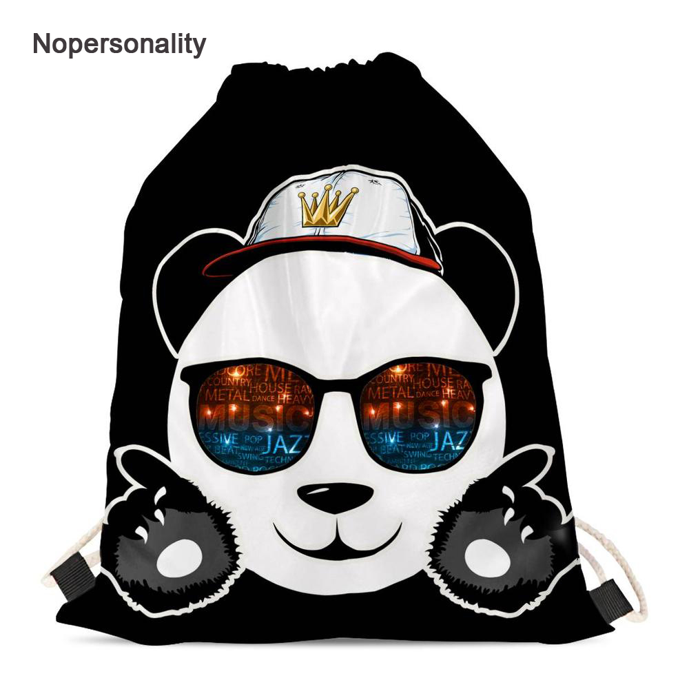Nopersonality Black Animal Panda Print Drawstring Bags For Girls Lightweight Drawstring Backpack Children Soft School Bagpack