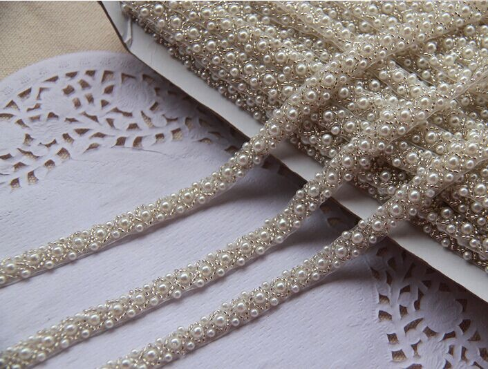 2yards Craft Braided Beaded Pearls Rhinestones Trim ,Embroidered Trim Costume Applique Sewing On Trim Patches For Clothing