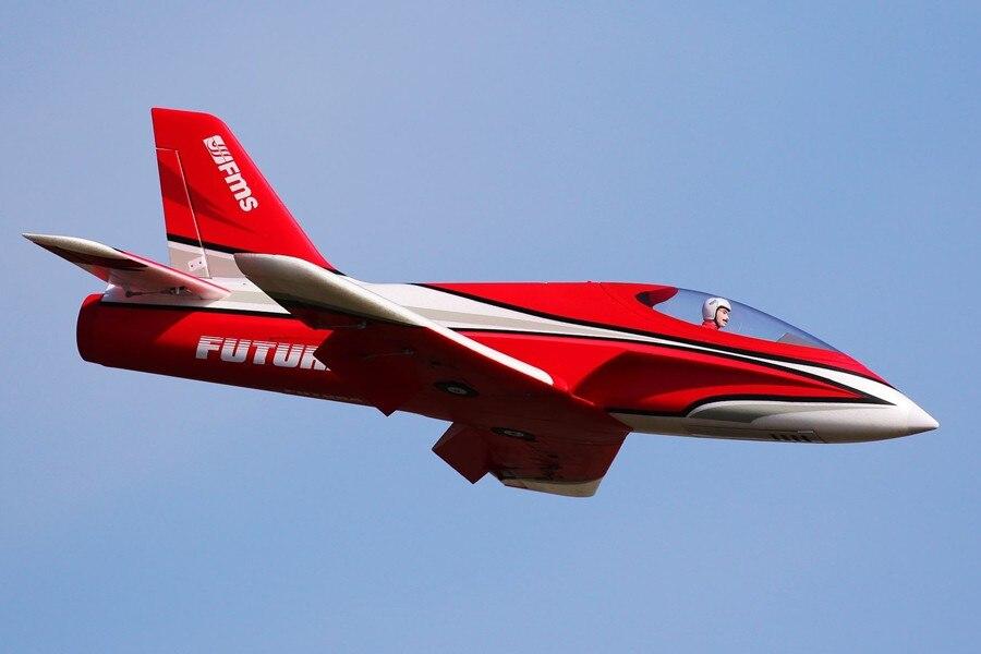 FMS RC Avion Futura Rouge 80mm Ventilateur Soufflant EDF Jet Haute Vitesse EPO 6 S 6CH avec Volets Se Rétracte modèle d'avion Avion Avion PNP