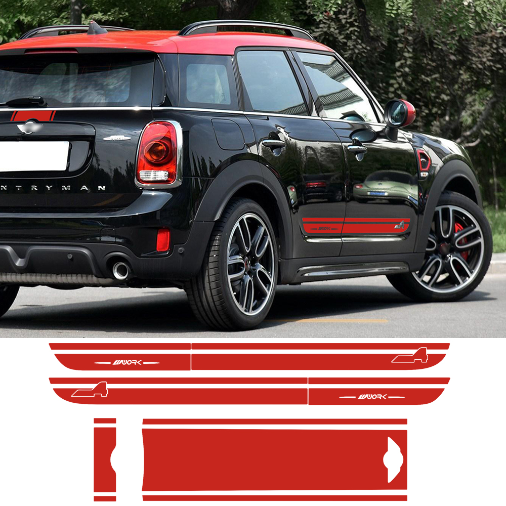Hood Trunk Engine Rear Door Side Stripes Decal Sticker All4 for MINI John Cooper Work S Countryman F60 2017-Present Car Styling aliauto car styling car side door sticker and decals accessories for mini cooper countryman r50 r52 r53 r58 r56