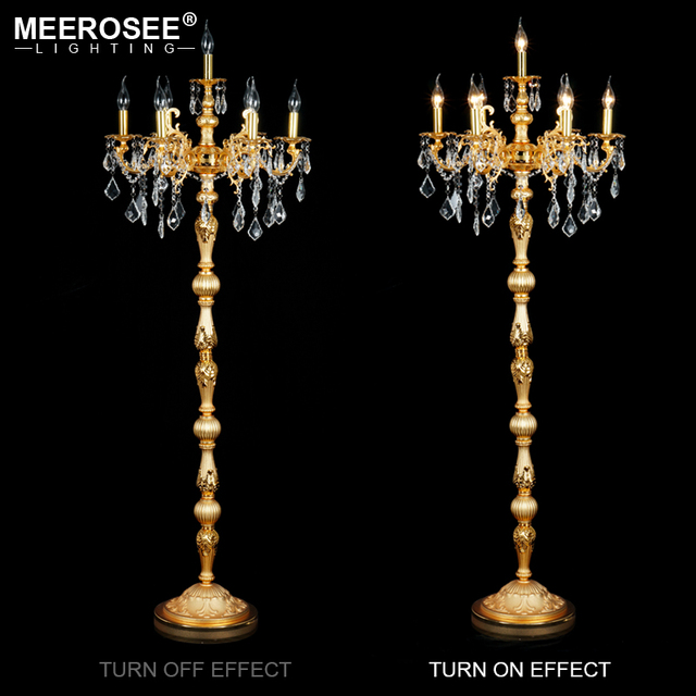 New Arrive Luxurious Floor Lamp European Style Standing Light Fixture E14 E12 Candle Lamparas
