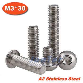1000pcs/lot ISO7380 M3*30 Stainless Steel A2 Button Head Socket Screw