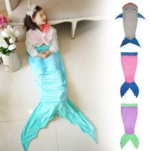 Creative Crystal velveteen kids baby blanket shark Mermaid Tail blanket adult Kids throw bed Wrap super soft sleeping bag A2