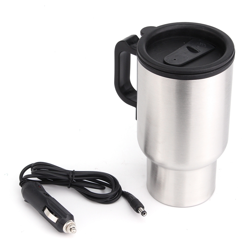 12V 450ML Stainless Steel Cup Kettle Travel Coffee Mug Portable Electric Car Water Keep Warmer Kettle   Cigar Lighter Cable