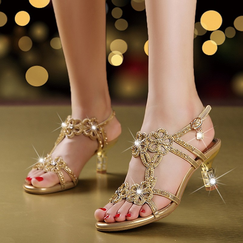 2018 Summer Womens Rhinestones Sandals Fashion Hollow Out High Heels Sandals Bohemia Style Shoes Woman XMX-A00442018 Summer Womens Rhinestones Sandals Fashion Hollow Out High Heels Sandals Bohemia Style Shoes Woman XMX-A0044