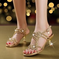 2018 Summer Women's Rhinestones Sandals Fashion Hollow Out High Heels Sandals Bohemia Style Shoes Woman XMX A0044