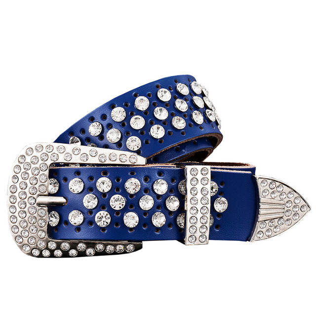 Women's Genuine Leather Wide Belt with Rhinestones