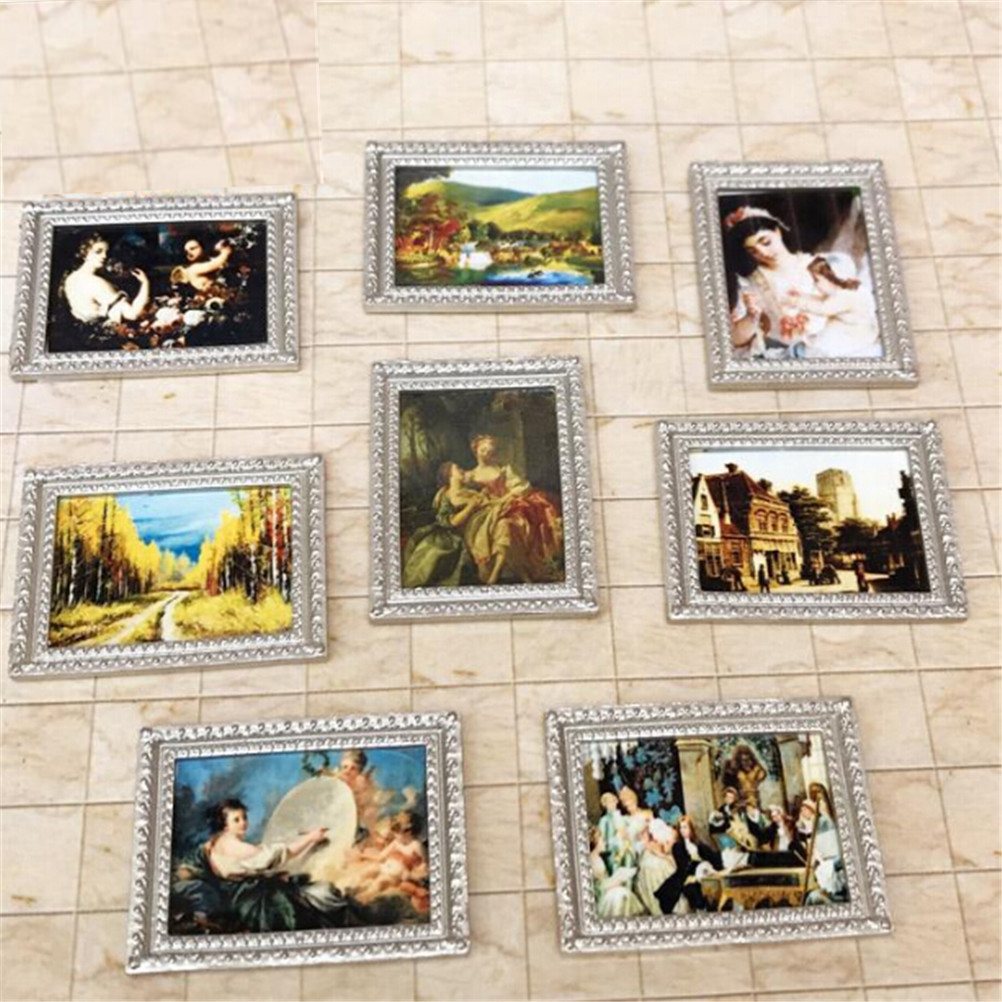 Novelty Dollhouse Framed Wall Painting 1:12 Doll Home Wall Decor Accessories Vintage Miniature Random Style