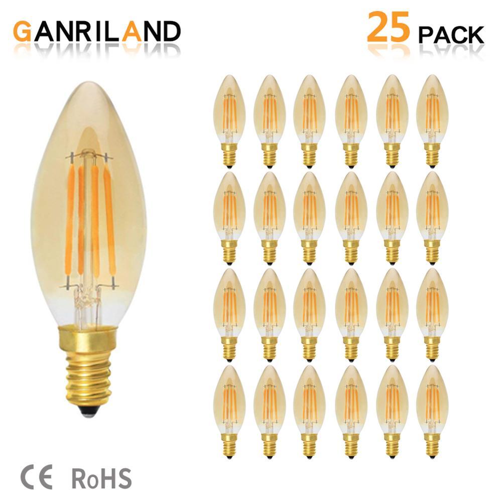 C35 4 w e14 220 v led vela lâmpada de vidro âmbar retro vintage lâmpadas led filamento amarelo 2200 k 35 w incandescente equivalente