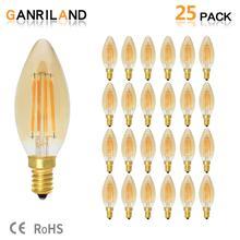 C35 4W E14 220V żarówka LED świeca bursztynowa szklana lampa Retro Vintage żarówki Filament LED żółty 2200K 35W żarowy odpowiednik