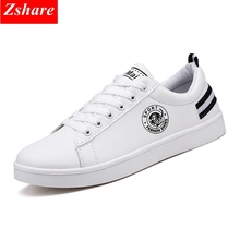 2019 Spring Autumn White Men Casual Shoes Man Sneakers PU leather Chaussures homme Fashion Lace-up Flat Men Shoes Mocassin homme недорого