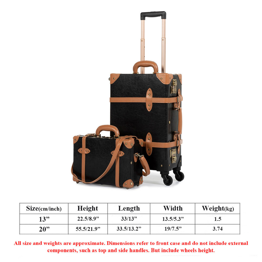 579b3fab19f9 COTRUNKAGE Carry On Suitcase TSA Lock Vintage Suitcase Black Pu Leather  Rolling Trunk 2 Piece Luggage Set with 13 Cosmetic Case