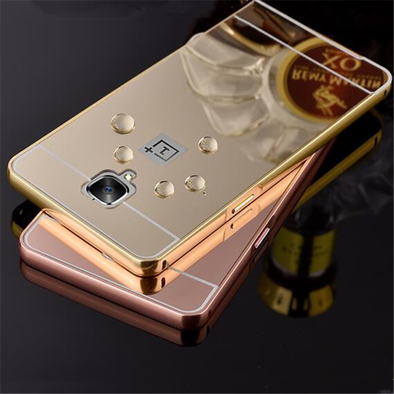 premium selection aea13 cb6e7 US $2.98 |Gold Plated Metal Aluminum Bumper + Plastic Mirror Back Case For  One plus 3 Oneplus 3 Oneplus3 Hybrid Phone Cover Back Cases on ...