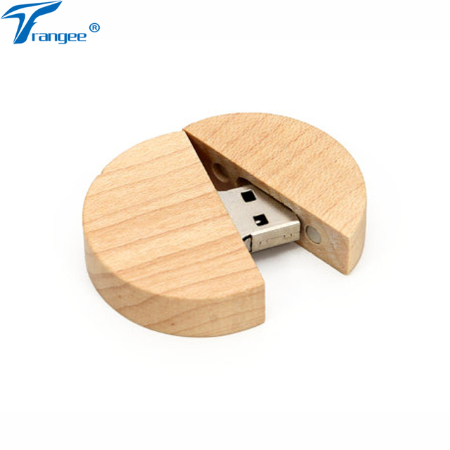 Trangee Circular Wooden Usb Flash Drive Memory Stick Pen 8gb 16gb 32gb Company Logo Customized