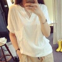 לבן באיכות גבוהה S-3XL נשים חולצה לא רגיל כותנה אלסטיים יסוד נקבה Loose מקרית חולצות שרוול קצר חולצת כיסים חדש
